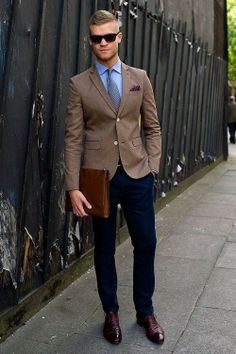 Men's Violet Polka Dot Pocket Square, Blue Dress Shirt, Grey Tie, Navy Chinos, Tan Blazer, and Burgundy Leather Loafers on Lookastic