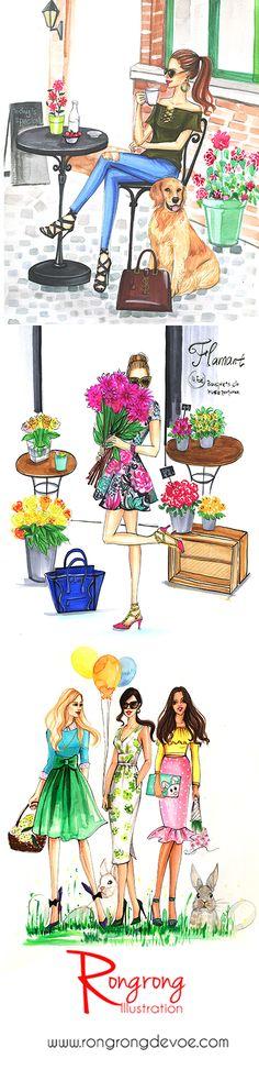 Tomando café, flores y chicas