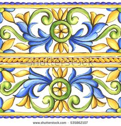 Find Ornaments On Tiles Watercolor Spain Italy stock images in HD and millions of other royalty-free stock photos, illustrations and vectors in the Shutterstock collection. Thousands of new, high-quality pictures added every day. Pottery Painting Designs, Pottery Designs, Mosaic Wall Art, Tile Art, Geometric Patterns, Tuile, Blue Pottery, Illustration, Watercolor Cards