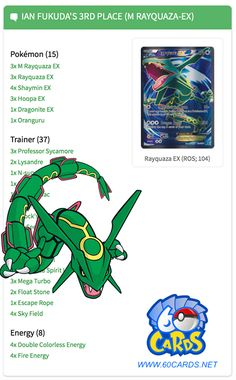 "www.60cards.net How would you change this deck?  ""We can see that Ian's Pokémon counts are pretty straight forward. The only unusual thing is the fact that Ian ran not two but three Hoopa-EX. I've seen players going with three Hoopa-EX in the past but once I saw Ian's list I was shocked. Not only is Hoopa-EX a terrible opener but it's also a liability at times once on the bench so you have to be careful when playing them down especially these days with Decidueye-GX/Vileplume in the format…"