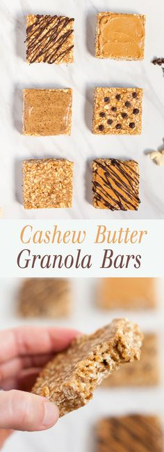 Cashew Butter Granola Bars - Soft, chewy granola bars that are naturally sweetened with maple syrup. Tapas Recipes, Snack Recipes, Dessert Recipes, Healthy Bars, Healthy Treats, Healthy Food, Baking Recipes, Real Food Recipes, Yummy Food