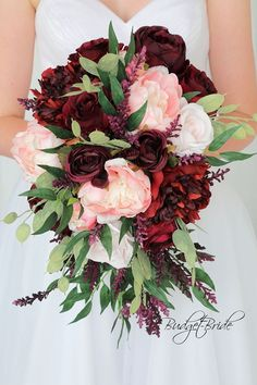 Davids Bridal Burgundy Marsala Wine and Blush Pink cascading teardrop Wedding Flowers with greenery