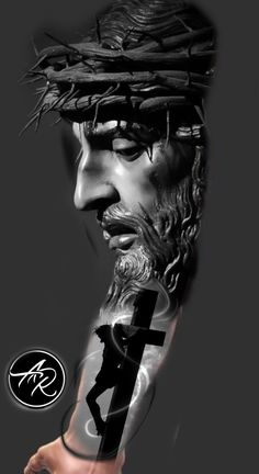 Discover recipes, home ideas, style inspiration and other ideas to try. Tattoo Cristo, Religion Tattoos, Jesus Tattoo Design, Chicano Tattoos Sleeve, Christ Tattoo, Full Arm Tattoos, Trash Polka Tattoo, Pictures Of Jesus Christ, Christian Tattoos