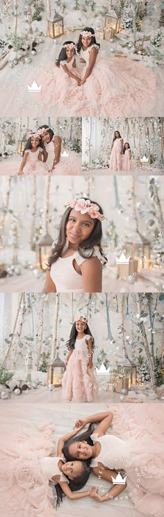 Holiday & Christmas Mini Session Portrait inspiration with sisters in a winter wonderland set. A and A's Birthday and Holiday Portraits! | Heidi Hope Photography