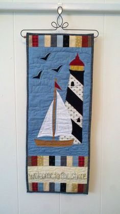 Welcome to the Shore Door Banner, skinny quilt, nautical quilt, summer decor, boating