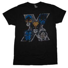 X-Men Team Marvel Comics Junk Food Vintage Style Soft T-Shirt Tee | eBay