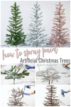 small christmas tree Step by step guide showing how to spray paint an artificial Christmas tree. See how to make a Rose Gold Christmas Tree and a White Flocked Christmas Tree. White Flocked Christmas Tree, Rose Gold Christmas Decorations, Christmas Tree Bulbs, Unique Christmas Trees, Christmas Tree Painting, Ribbon On Christmas Tree, Christmas Tree Themes, Small Artificial Christmas Trees, Disney Christmas