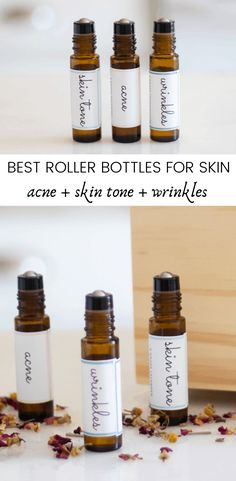 These 3 essential oil roller bottles for skin are a must-have. The blends of oils used in these roller bottles help keep skin clear, reduce signs of aging, and improve skin tone. #essentialoils #rollerbottles #rollerballrecipes #essentialoilsforskin #clearskinrollerbottle Essential Oils For Skin, Essential Oil Blends, Roller Bottle Recipes, Natural Beauty Recipes, Young Living, Skin Tone, Diffuser, Stress, Bottles