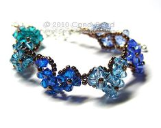 Blue Cool Blue Hearts Swarovski Crystal Bracelet with silver clasp by CandyBead