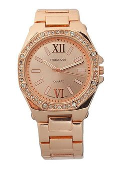 Rhinestone embellished rose gold-colored boyfriend watch (original price, $24) available at #Maurices