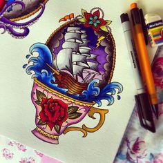Storm in a teacup ⚡⚓☕ #traditionaltattoo #tattooflash #shiptattoo #sailortattoo #teacuptattoo #nautical #tattooart