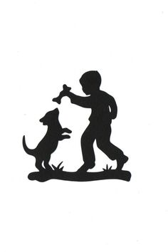 boy and his dog child silhouette die cut for scrap booking or card making - Stencils For Boys