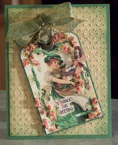 Handmade St. Patrick's Day Card, Vintage Irish Lass Tag with Flower Soft application.