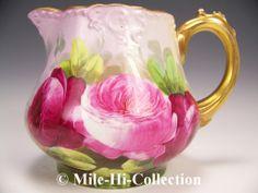 Limoges France Hand Painted Roses Cider Pitcher | eBay