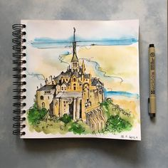 "Шляпа Ван Гога on Instagram: ""Yesterday's #sketch of Mont Saint-Michel, — the place I'd surely like to visit some day. . Вчерашний #скетч Мон Сан Мишель, — места, куда…"" Mont Saint Michel, My Drawings"