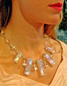 LILLI sterling silver crystal confetti lucite by SparkleLux 250.00