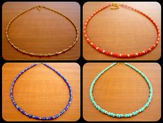 Handmade Beaded Choker Necklaces Dainty Turquoise Blue Red Shampagne Gold Spacers DIY