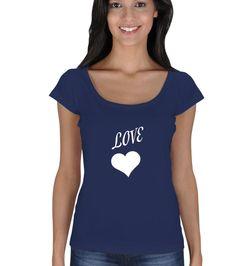 Love Kadın Tişört Bayan Açık Yaka Tişört
