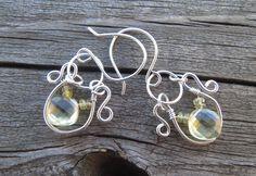 Lemon Citrine Quartz Dangle Earrings with Yellow Sapphires. Silver and lemon quartz drops. November birthstone, citrine, pale yellow gem by LoMoStudio on Etsy