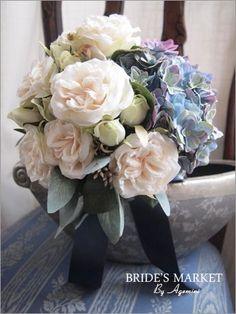 アーティフィシャルのブーケ。  hydrangea and old rose wedding bouquet AGEMINI