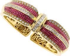 Estate Jewelry:Bracelets, Ruby, Diamond, Gold Bracelet. ...