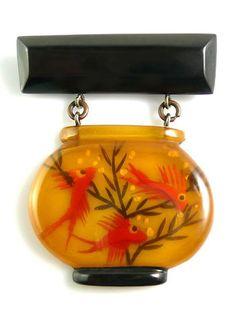 Vintage Bakelite Fish Bowl PIn