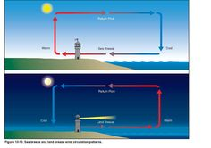 Sea breeze and land breeze wind circulation patterns explained with a simple illustration.