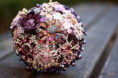 I would love to make christmas ornaments like this made from styrofoam balls and vintage broaches.