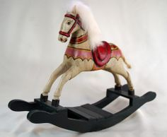 MINT Vtg Retro Hand Carved Wooden Rocking Horse White Body Hair Rope Classic