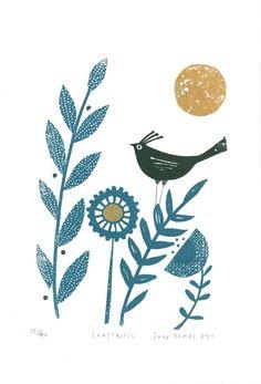 Jane Ormes, nature, bird, colour, printmaking, texture, design, print, art, illustration