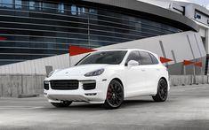 Download wallpapers Porsche Cayenne Turbo, 2017, white luxury SUV, tuning Cayenne, black wheels, German cars, Porsche
