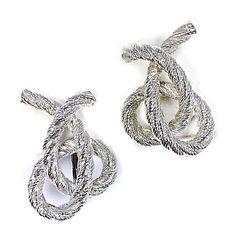 Rope Twist Earrings Vintage Silver Tone Clip On e517