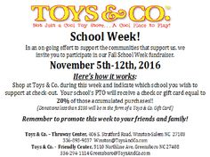 Tomorrow is the last day of the Fall School Week Fundraiser at Toys & Co. - Winston-Salem!