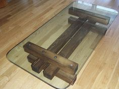 Glass and Wood Coffee Table. by TicinoDesign on Etsy