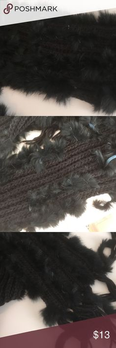Scarf Black knit scarf with strips of rabbit fur woven through out very cute has a spot on it but its covered by the fur Accessories Scarves & Wraps