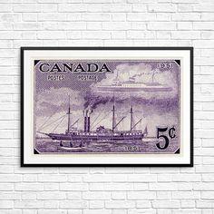 City of Toronto, steam ship, sailing ship, Toronto Portlands, Lake Ontario, steamer ship, cargo ship, steamship print, sail boat art print