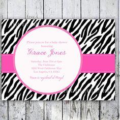 Items similar to Safari Zebra Print Baby Shower Invitations, Printable Invite for Bridal Shower too on Etsy Zebra Party, Safari Party, Safari Theme, Leopard Print Baby, Baby Zebra, Zebra Print, Safari Invitations, Printable Invitations, Baby Shower Invitations