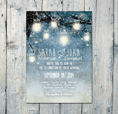 Set of 50-95 - Winter and the Fallen Leaves Wedding Invitation and RSVP Card - Wedding Stationery - ID357