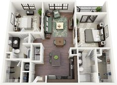 50 Two 2 Bedroom ApartmentHouse Plans 42