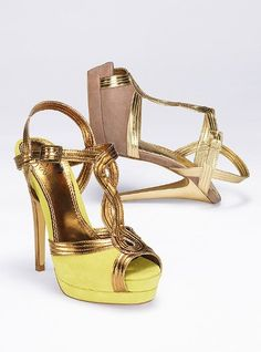 Soft suede in hot hues contrast with shimmery metallic and a sky-high heel. Great description! ;)