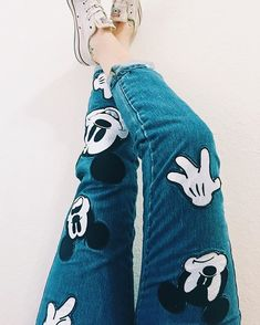 Disney - Outfits For Adults Coolest Mickey Mouse Jeans Cute Disney Outfits, Disneyland Outfits, Disney Inspired Outfits, Disneyland Trip, Disney Style, Disney Trips, Disney Clothes, Mickey Mouse Clothes, Mickey Mouse Outfit