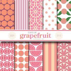 Grapefruit Digital Scrapbook Paper