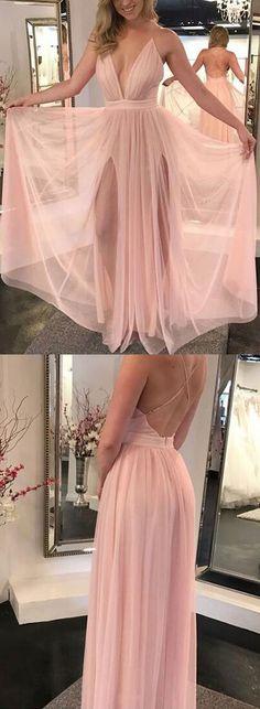 Pink v neck tulle long prom dress, pink evening dress#promdress #Vnecklongprom #tullepromgown#