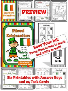 St. Patrick's Day Mixed Subtraction Task Cards and Printables #TPT $Paid