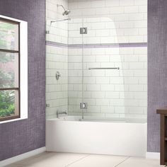 The AquaLux tub door delivers European styling with a gracefully curved silhouette for a uniquely modern look. The perfect combination of impressive 0.3125 inch-thick tempered glass and a flowing fram