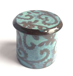 Turquoise Paisley French Butter Keeper by KandaceLockwood on Etsy, $45.00