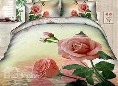 New Arrival Elegant Pink Roses Print 4 Piece Bedding Sets