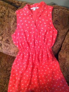 Forever21+Dress+(coral/pink+with+white+bow+pattern)+-+$14