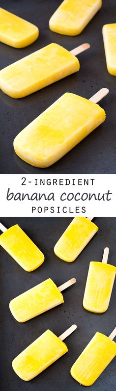 (Vegan and GF) 2-Ingredient Banana Coconut Popsicles #vegan #glutenfree