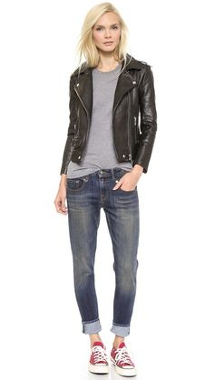 R13 Boy Skinny Jeans + Leather jacket* *Black leather jackets make anything cooler